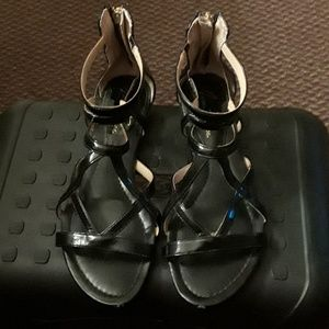 Ladies black patent leather gladiator sandals